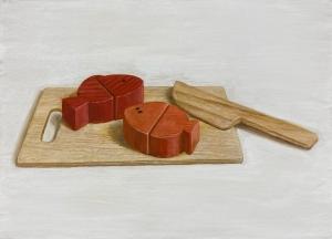exid15350wid12142 / 玩具の魚と包丁とまな板