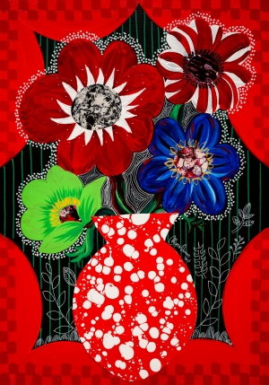exid38279wid34497 / Red Anemone 4 with Flower vase