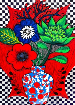 exid36271wid34628 / Ginger Flowers & Anemone with Flower vase