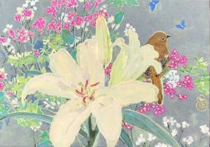 exid1394wid1356 / 小鳥と百合の花