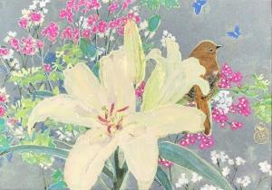 exid33000wid31652 / 小鳥と百合の花